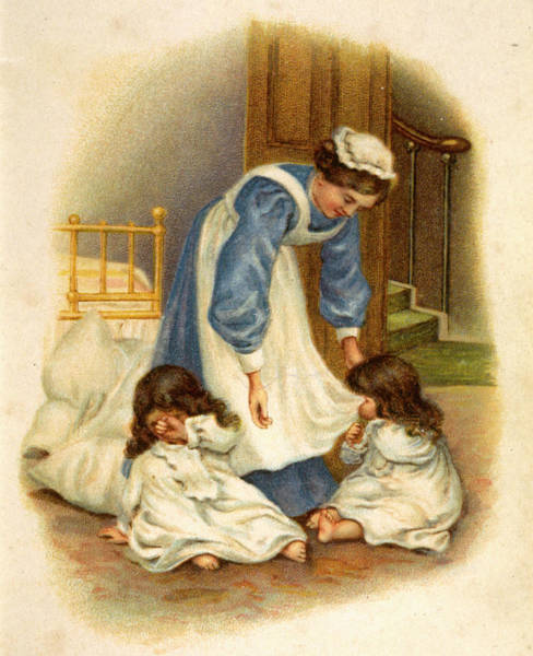 Wall Art - Drawing - Twin Girls And Their Nanny At Bedtime by Mary Evans Picture Library