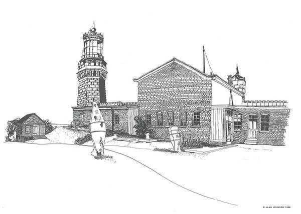Drawing - Twin Lights Atlantic Highlands by Alan Johnson