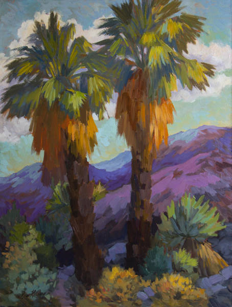Canaries Painting - Twin Palms At Indian Canyons by Diane McClary