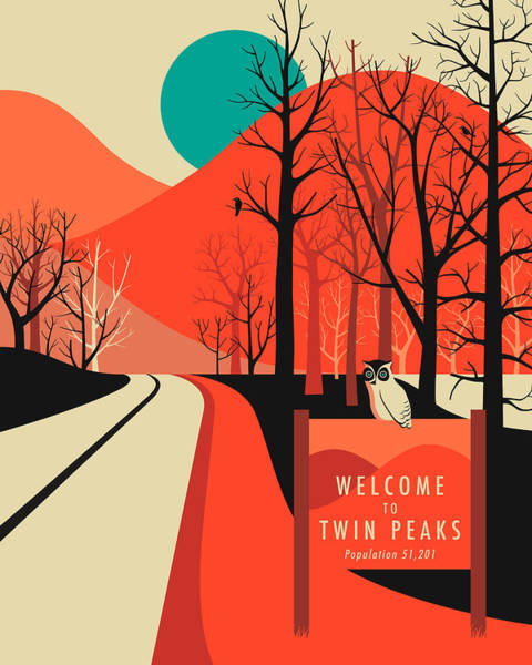 Peak Digital Art - Twin Peaks Travel Poster by Jazzberry Blue