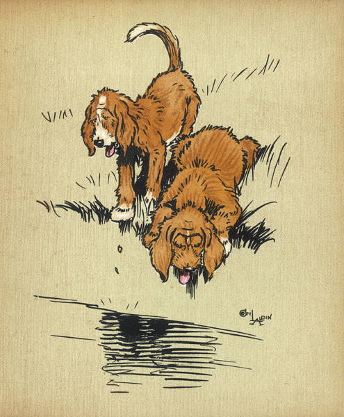 Wall Art - Drawing - Twin Puppies, Snip And Snap,  Find Some by Mary Evans Picture Library