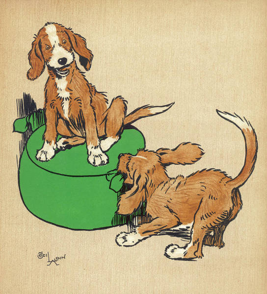 Naughty Dog Wall Art - Drawing - Twin Puppies, Snip And Snap, Quarrel by Mary Evans Picture Library