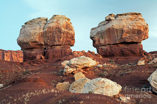 Twin Rocks At Sunrise Capitol Reef National Park Art Print