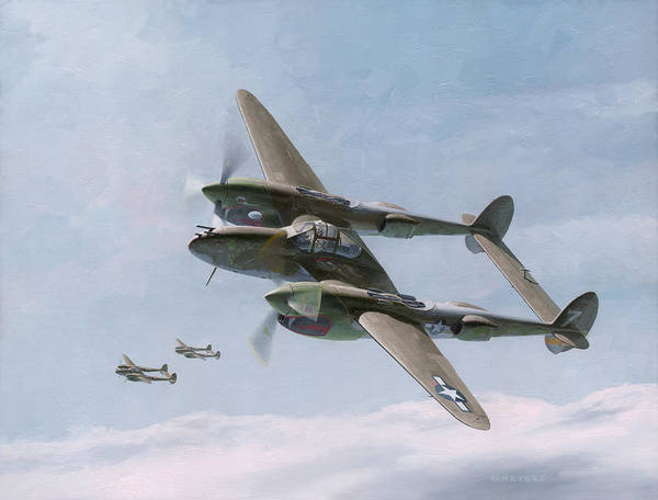 Air War Painting - Twin-tailed Dragons by Wade Meyers