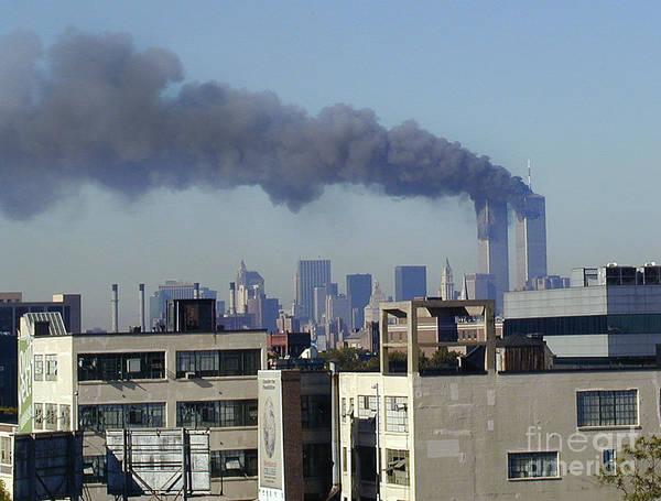 Twin Towers Burning Art Print