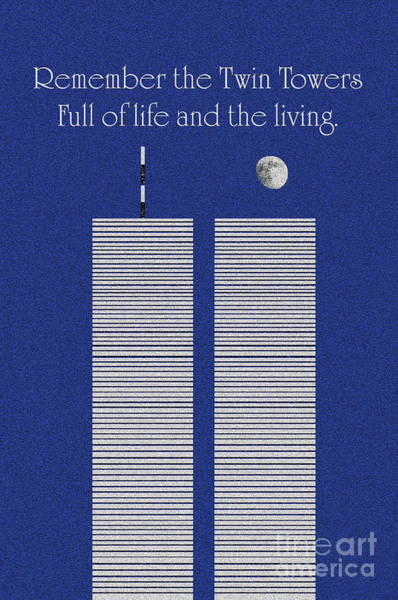 Digital Art - Twin Towers Remember The Lives by Andee Design