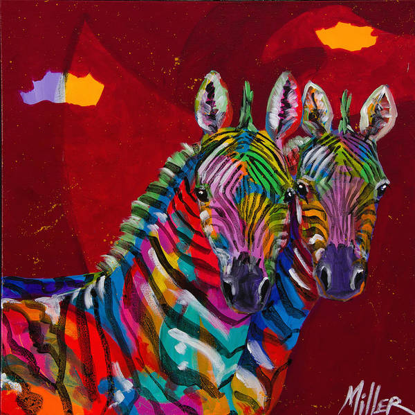 Colorado Wildlife Wall Art - Painting - Twin Zebras by Tracy Miller