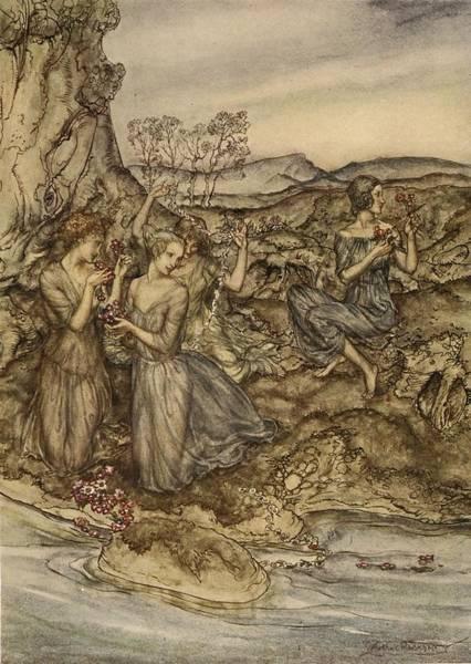 Greek Myths Wall Art - Drawing - Twining Wreaths Of Flowers by Arthur Rackham