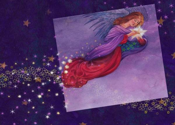 Painting - twinkling Angel with star by Judith Cheng