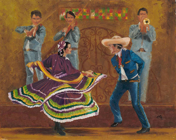 Mariachi Painting - Twirling Skirt by Maria Gibbs