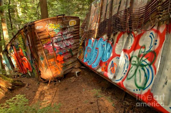 Photograph - Twisted Wrecked Tain Cars by Adam Jewell