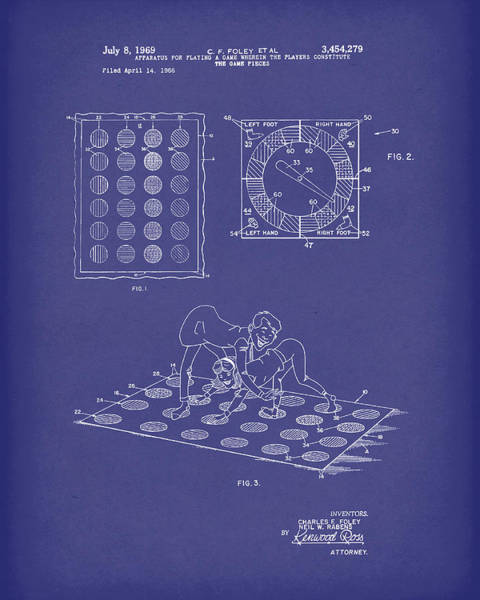 Drawing - Twisting Game 1969 Patent Art Blue by Prior Art Design