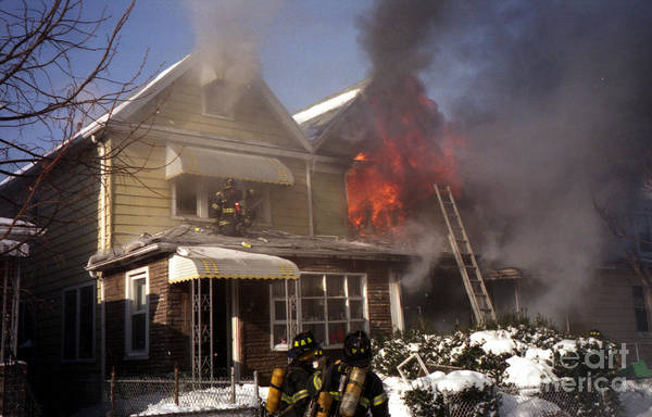 Photograph - Two Alarm Fire After Blizzard by Steven Spak