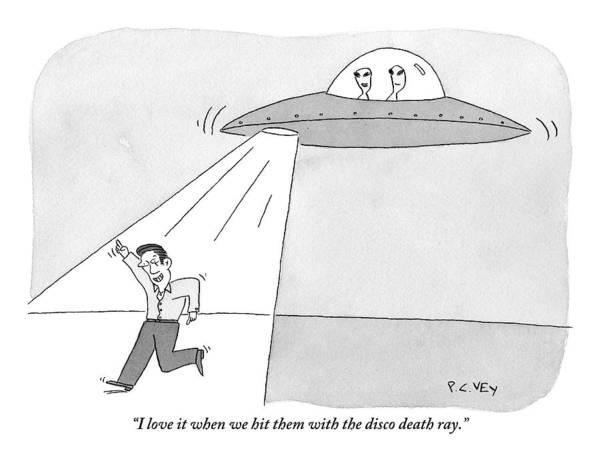 Aliens Drawing - Two Aliens In A Flying Saucer Hit A Man by Peter C. Vey