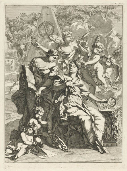 Allegorical Figure Drawing - Two Allegorical Female Figures Surrounded By Angels by Caspar Luyken
