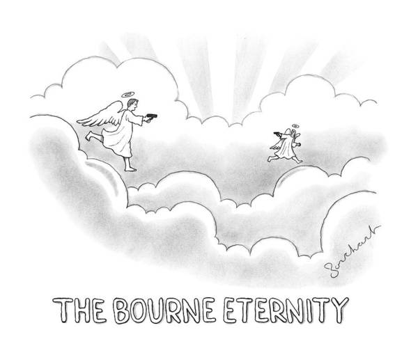 Identity Wall Art - Drawing - Two Angels In Heaven Chase Each Other With Guns by David Borchart