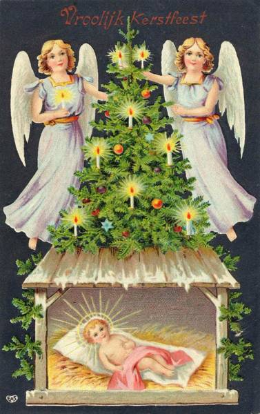 Wall Art - Drawing - Two Angels Light The Candles by Mary Evans Picture Library