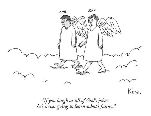 Joke Wall Art - Drawing - Two Angels Speak Walking In Heaven by Zachary Kanin