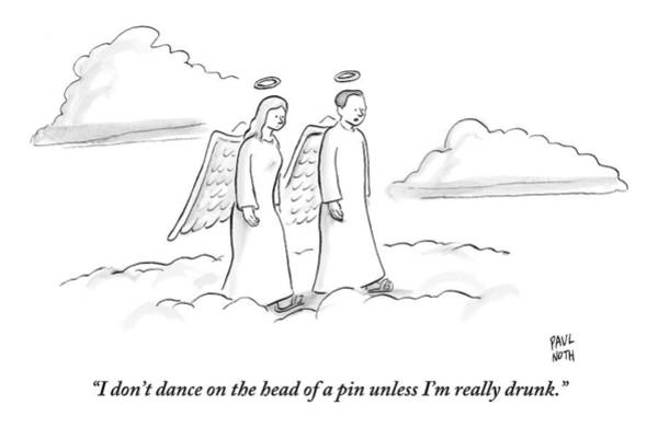Drunk Drawing - Two Angels Walking In Heaven Having by Paul Noth