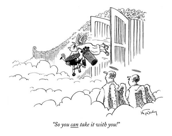 Golf Drawing - Two Angels Watch As Another Angel Flies by Mike Twohy