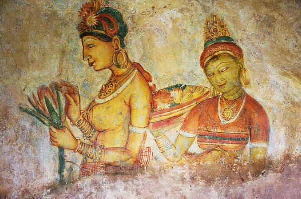 Golden Princess Photograph - Two Apsaras. Sigiriya Cave Painting by Jenny Rainbow