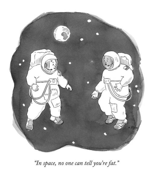 Drawing - Two Astronauts Float In Space by Emily Flake
