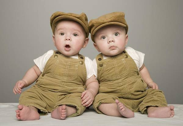 Lean-tos Photograph - Two Babies In Matching Hat And Overalls by Kelly Redinger