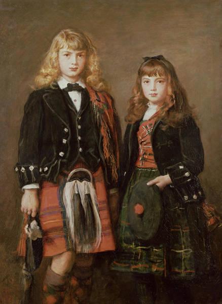 Scottish Highlands Photograph - Two Bairns Oil On Canvas by Sir John Everett Millais