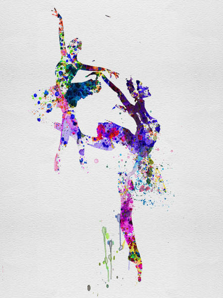 Wall Art - Painting - Two Ballerinas Dance Watercolor by Naxart Studio