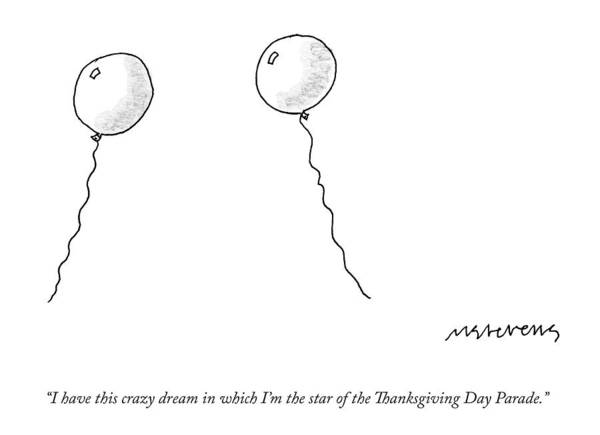 Thanksgiving Drawing - Two Balloons Speak To One Another by Mick Stevens