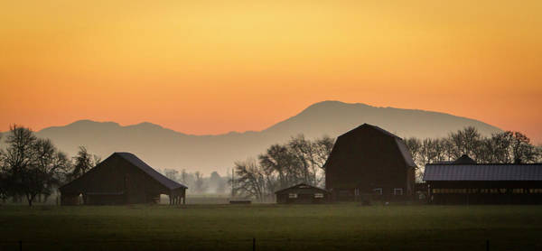 Barn Photograph - Two Barns And Marys Peak At Sunset by Bob Pool