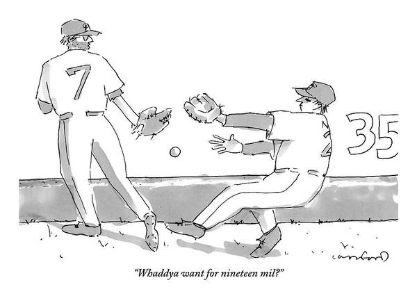 Sports Drawing - Two Baseball Players And A Baseball In The Air by Michael Crawford