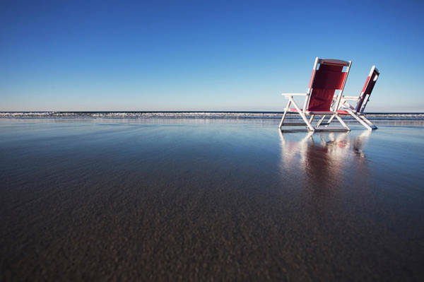 Hackett Photograph - Two Beach Chairs On Wet Sand In York by Chris Hackett