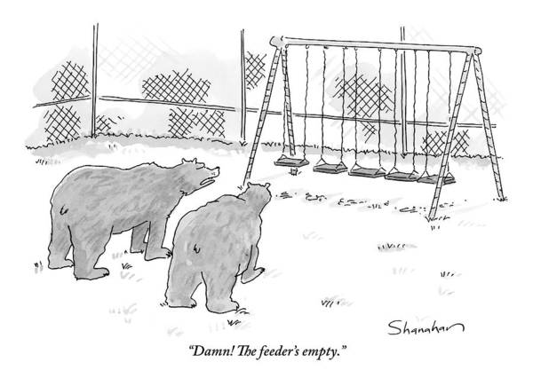 Wall Art - Drawing - Two Bears Walk Up To An Empty Swing Set by Danny Shanahan