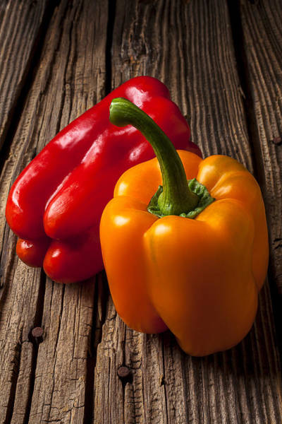 Bell Peppers Photograph - Two Bell Peppers by Garry Gay