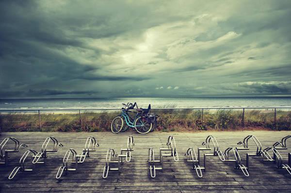 Bicycle Rack Photograph - Two Bikes Leant Against Railings by Elisabeth Schmitt