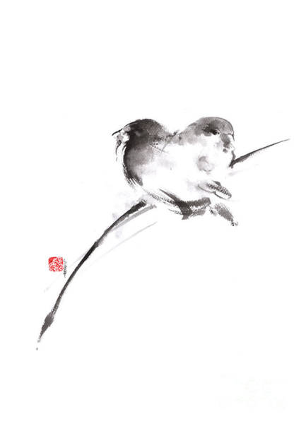 Sumi Wall Art - Painting - Two Birds Minimalism Artwork. by Mariusz Szmerdt