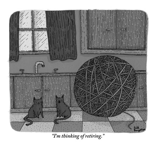 Black Cats Drawing - Two Black Cats In A Kitchen Beside A Huge Ball by Erik Bergstrom