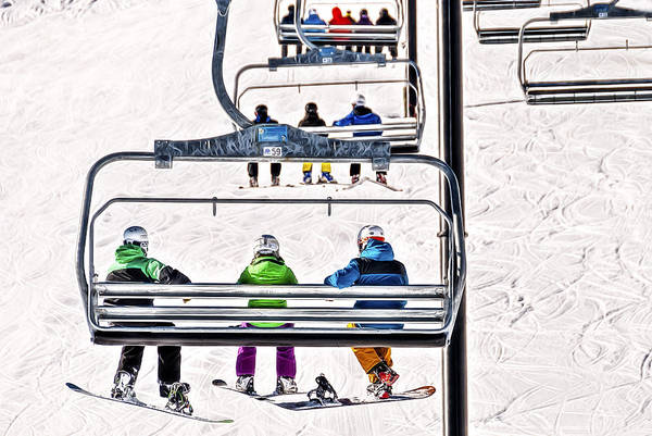 Ropeway Photograph - Two Boarders And A Skier by Maria Coulson