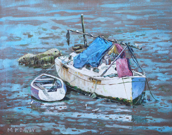 Wall Art - Painting - Two Boat Wrecks At Low Tide by Martin Davey