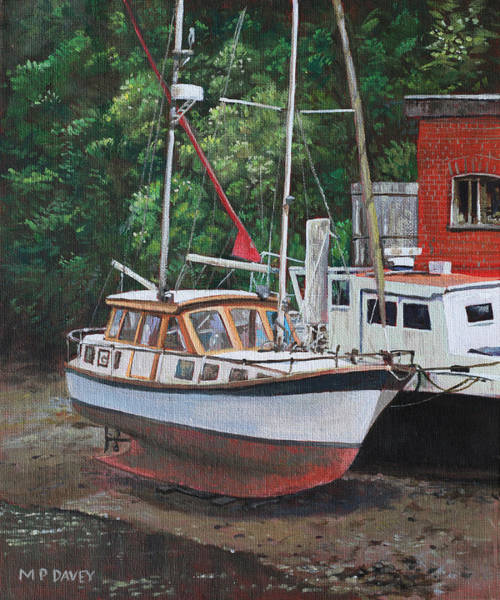 Wall Art - Painting - Two Boats On Eling Mudflats by Martin Davey