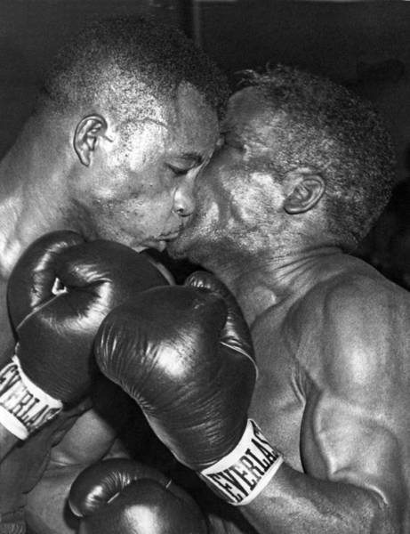 Exertion Wall Art - Photograph - Two Boxers In A Clinch by Underwood Archives
