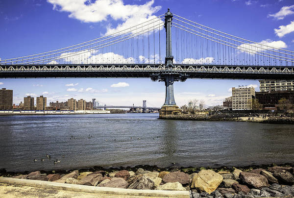 Williamsburg Bridge Photograph - Two Bridges View - Manhattan by Madeline Ellis