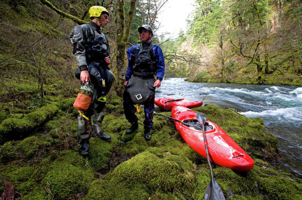 Wall Art - Photograph - Two Brother Kayakers Prepare To Scout by Bennett Barthelemy
