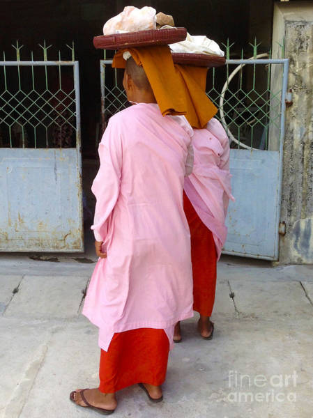 Two Buddhist Nuns Collecting Food Donation From Locals 75th Street Mandalay Burma Art Print by PIXELS  XPOSED Ralph A Ledergerber Photography