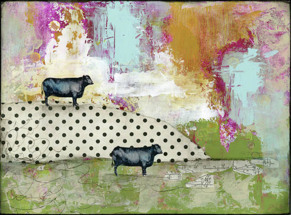 Farm Painting - Two Bulls by Sarah Ogren