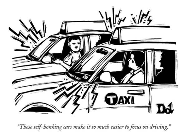 Taxi Drawing - Two Cab Drivers Speak To Each Other by Drew Dernavich
