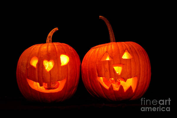 Photograph - Two Carved Jack O Lantern Pumpkins by James BO Insogna