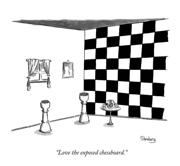 Avi Steinberg Drawing - Two Castle Chess Pieces Stand In A Room by Avi Steinberg