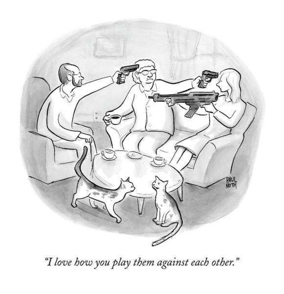 Cats Drawing - Two Cats Are Seen Speaking With Each Other Next by Paul Noth